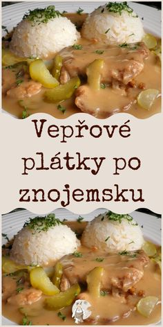 Vepřové plátky po znojemsku Czech Recipes, Ethnic Recipes, Main Meals, Potato Salad, Meal Planning, Food And Drink, Meat, Chicken, Dinner