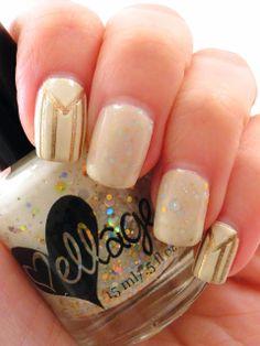 Gold and Ivory Nail Art