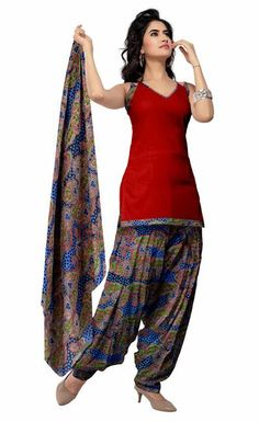 USD 29.49 Red Cotton Printed Punjabi Salwar Kameez 28978