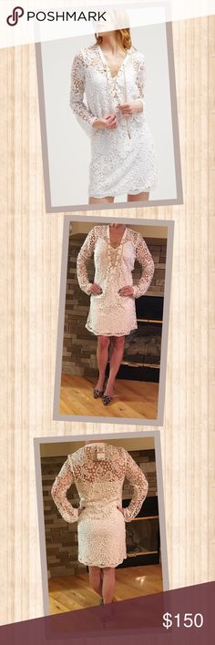 Michael Kors White lace Dress Breathtaking white lace Michael Kors tunic dress.  Adorned with gold chain detailing at the neck and chest.  100% Polyester MICHAEL Michael Kors Dresses