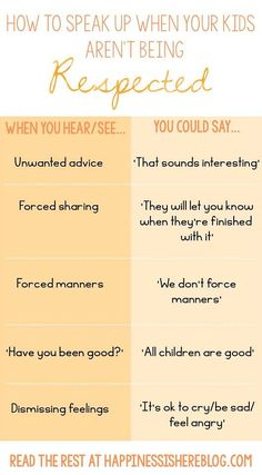 What to say when someone says something to your child that isn't respectful.