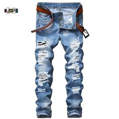 Now  at our store Mens Ripped Jeans Slim Fit Distressed Destroyed Denim Pants come see at A Sheek Boutique.