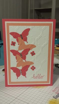 Elegant butterfly punch doing inlaid embossing technique using mosaic embossing folder six sided sampler stampin up ~ Stamp with Rachel ~