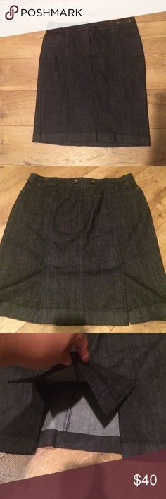 J. Crew denim skirt 98%cotton 2%spandex dark denim with two slits on back skirt is 22 inches long J. Crew Skirts Pencil