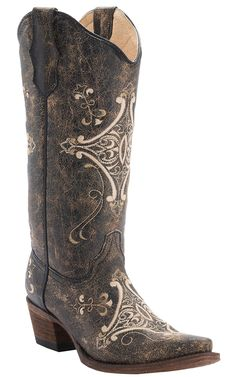 Corral® Circle G™ Ladies Chocolate Crackle with Bone Fancy Embroidery Snip Toe Cowboy Boots
