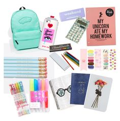 """""""What's in my backpack"""" by julia-kosloske ❤ liked on Polyvore featuring Vans, Valfré, claire's, Topshop, Denik, Hester & Cook and Forever 21"""
