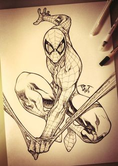 Drawing Marvel Spiderman Commission artwork Comic Art - Visit to grab an amazing super hero shirt now on sale! Drawing Cartoon Characters, Comic Drawing, Character Drawing, Cartoon Drawings, Cool Drawings, Drawing Sketches, Sketch Art, Spiderman Sketches, Spiderman Kunst