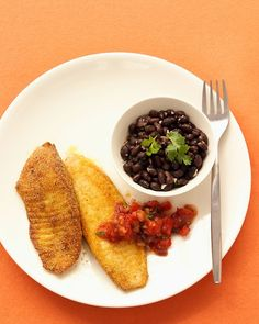Cornmeal-Crusted Tilapia with Salsa - Martha Stewart Recipes