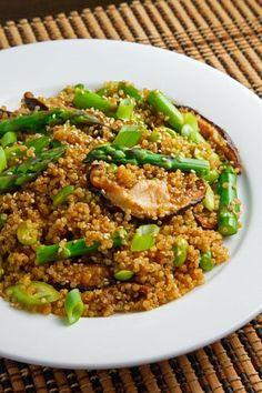 Yikees - so good!   Asparagus and Shiitake Mushroom Teriyaki Quinoa Salad