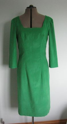 Butterick B4386 with a squared off neckline, in emerald needlecord with 3/4 sleeves.  I lengthened the body of the dress to accommodate my 6ft height and loooong body!