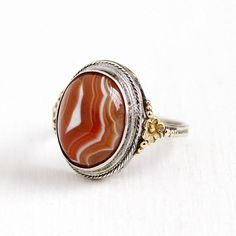 Sale - Vintage Sterling Silver & 10k Gold Filled Banded Agate Cabochon Ring - Art Deco 1930s Size 6 3/4 Brown White Gem Flower Uncas Jewelry by Maejean Vintage on Etsy