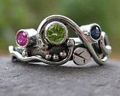 unique mother's ring. sterling silver and 3 birthstones . (( Wild Garden Mother's Ring )) . READY TO SHIP in size 7 with your stones