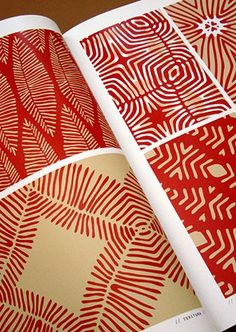 Gravitating toward the vibrancy of red. But liked seeing how just placement of lines can create so many patterns. Wondering if we get simplistic line stencils? Motifs Textiles, Textile Patterns, Textile Design, Fabric Design, Print Patterns, Textile Prints, Surface Pattern Design, Pattern Art, Abstract Pattern