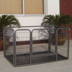This heavy duty rectangle training kennel is safe and does not have any sharp edges or spikes.  Iconic Pet's tube training kennel provides ventilation and visibility to keep your dog happy and comfortable.