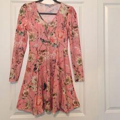 Cecico Pink Bird & Flower Flared Boutique Dress