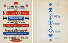 Invitation for the Herman Miller Textiles & Objects store at 8 E. 53rd Street in Manhattan.