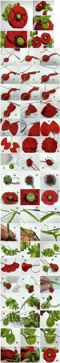 crochet poppy and leaves