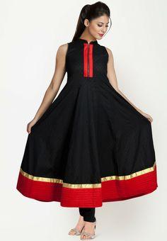 Sleeve Less Embroidered Black Kurti