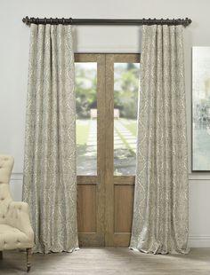 Ayr Taupe Grey Faux Silk Jacquard Curtain - SKU: JQCH-AS224894 at https://halfpricedrapes.com