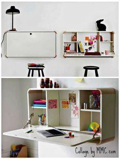 Colgar el escritorio de la pared ahorra mucho espacio y les obligará a ser muy ordenados con sus cosas