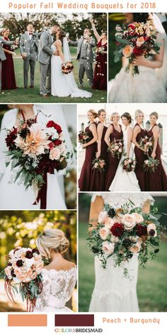 10 Stunning Fall Wedding Bouquets to Match Your Big Day Peach and Burgundy wedding fall ideas / april wedding / wedding color pallets / fall wedding schemes / fall wedding colors november Fall Wedding Centerpieces, Fall Wedding Bouquets, Fall Wedding Flowers, Fall Wedding Colors, Fall Wedding Dresses, Wedding Decorations, Wedding Color Schemes, Bridal Bouquets, Stage Decorations