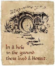 The story starts in the house of the hobbit: Bilbo Baggins.The book starts with a very famous sentence: In a hole in the ground there lived a Hobbit. Gandalf, Narnia, Jrr Tolkien, Tolkien Quotes, Lotr, Shire, Hirsch Tattoo, Rings Film, Art Magique