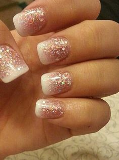 Opting for bright colours or intricate nail art isn't a must anymore. This year, nude nail designs are becoming a trend. Here are some nude nail designs. Glitter French Manicure, Glitter Nail Art, French Nails, White Glitter, French Manicure Designs, Glitter French Tips, Glitter Gel Nails, Cute Nails, Pretty Nails