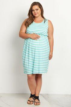 bb798b3b7 Mint Green Striped Cinched Plus Size Maternity Dress. Maternity Dresses  SummerPlus ...
