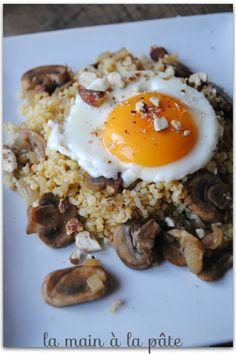 Boulgour aux champignons frais et oeuf sur le plat