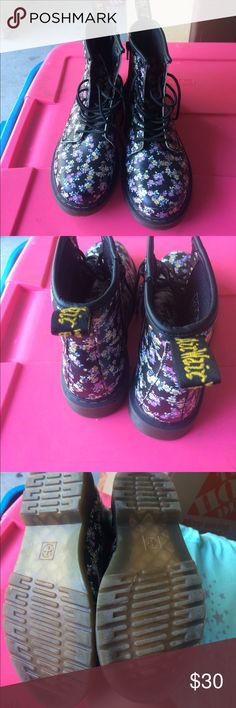 Combat boots Black floral combat boots light purple and yellow flowers lightly used perfect condition smoke free and pet free home Dr. Martens Shoes Ankle Boots & Booties