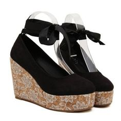 $26.28 Elegant Solid Color and Cross-Straps Design Women'a Wedge Shoes