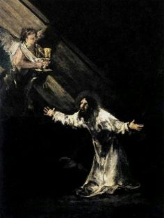 Christ on the Mount of Olives - Francisco De Goya y Lucientes Francisco Goya paintings, plastic arts, visual arts, art, romanticism Spanish Painters, Spanish Artists, Religious Paintings, Religious Art, Caravaggio, Rembrandt, Francisco Goya Paintings, Art Espagnole, Agony In The Garden