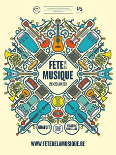 Fête de la musique in Belgium - Design & Art Direction of the event global identity (posters, flyers, ads…) -- Event Flyer Ideas & Templates Creative Poster Design, Creative Posters, Graphic Design Posters, Graphic Design Typography, Graphic Design Inspiration, Design Art, Design Layouts, Poster Designs, Creative Ideas
