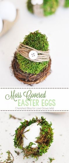 DIY Easter Decorations - Decor Ideas for the Home and Table -  Moss Covered Easter Eggs - Cute Easter Wreaths, Cheap and Easy Dollar Store Crafts for Kids. Vintage and Rustic Centerpieces and Mantel Decorations. http://diyjoy.com/diy-easter-decorations