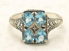 Vintage Aquamarine + Diamond Ring - Size 5.75