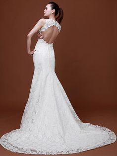 Fancy Lace Scallop-Edged Deep-V Neckline Cut-out Back Mermaid/Trumpet  Style Chapel Train Wedding Gown by Luka