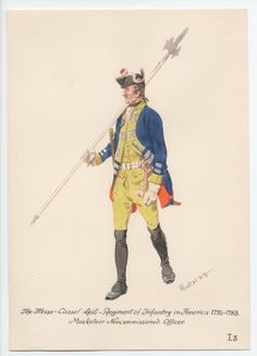 Hesse-Cassel Leib-Regiment of Infantry . Musketeer NCO, in America 1775-1783 by H.Knotel