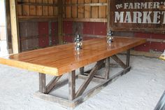 Barn tressel table made from old barn rafters