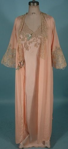1930's Peach Rayon Crepe Robe and Pink Silk Satin Nightgown Both with Ecru Lace