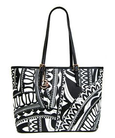 Look what I found on #zulily! Black & White Abstract Tote by LYDC London #zulilyfinds