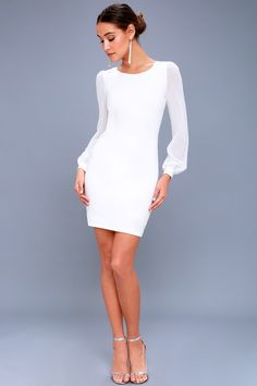 Let yourself fall for the Poetic Love White Long Sleeve Bodycon Dress! A figure-flaunting bodycon dress with long, sheer, balloon sleeves. Simple White Dress, White Long Sleeve Dress, Bodycon Dress With Sleeves, Simple Dresses, Casual Dresses, Work Dresses, Dress Black, Rehearsal Dinner Dresses, White Cocktail Dress