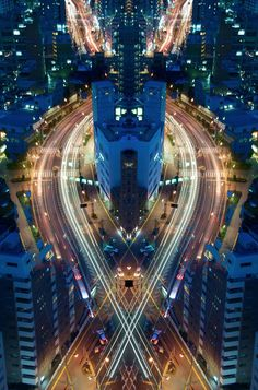 Tokyo, Japan-based photographer Shinichi Higashi takes long exposures to exciting new heights with his series Graffiti of Speed/Mirror Symmetry. While his