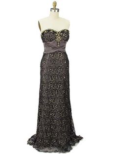 Strapless Sweetheart Style Jewelled Black Metallic Lace Over Mocha Satin Evening Gown