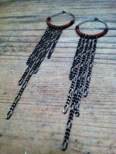 Chain Fringed Hoops Sienna and Chocolate Brown by bearandthemoon