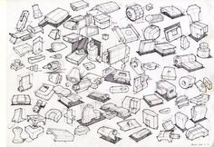 Thumbnail sketch on Behance - basic 3d shapes and products industrial design sketches