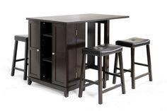 Aurora 5-Piece Dark Brown Modern Pub Table Set Cabinet Base