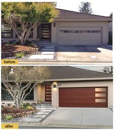 Best Garage Design and Decoration Ideas in Managing Your Storage - A new front door and Clopay Modern Steel Collection faux wood garage door with windows give this ho - Contemporary Garage Doors, Modern Garage Doors, Modern Exterior Doors, Contemporary Front Doors, Faux Wood Garage Door, Garage Door Design, Garage Door Styles, Painted Garage Doors, Glass Garage Door