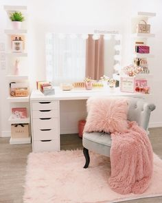 Bedroom Decor For Teen Girls, Girl Bedroom Designs, Room Ideas Bedroom, Teen Room Decor, Bedroom Wall, Vanity For Bedroom, Teen Rooms Girls, Ikea Girls Bedroom, Ikea Room Ideas