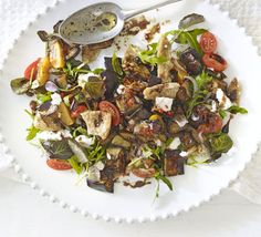 Aubergine & goat's cheese salad with mint-chilli dressing recipe - Recipes - BBC Good Food