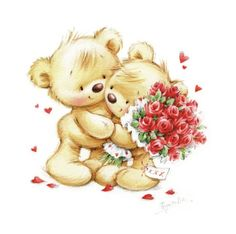The bear gives a bouquet of roses.psd | Marina Fedotova | Representing leading artists who produce children's and decorative work to commission or license. | Advocate-Art